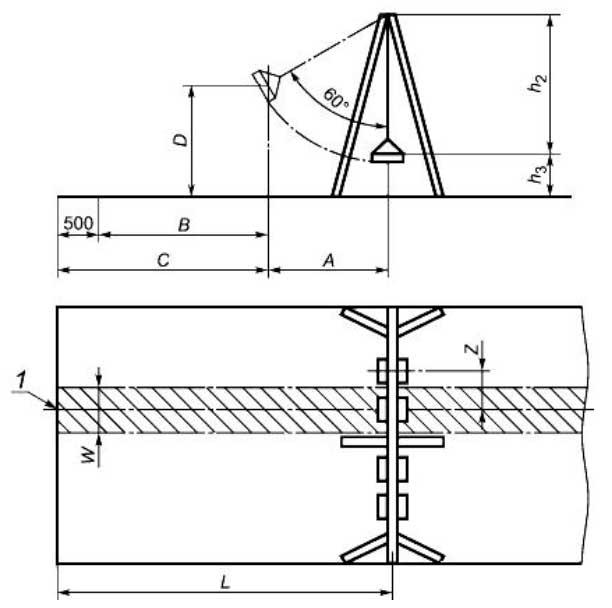 расстояние от осевой линии качелей до центра тяжести сиденья при отклонении на угол 60°